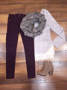 {Color your world with denim} These burgundy skinnies are only $68!! :)