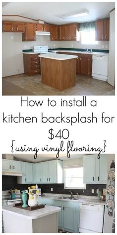 You would never believe this backsplash was only $40! Using peel n stick vinyl flooring as a backsplash is a great idea and super budget friendly! Check it out for the full EASY tutorial!