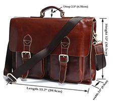 Handcrafted Leather Briefcase / Messenger / Laptop / Mens Bag in Vintage Reddish Brown. $115.00, via Etsy.