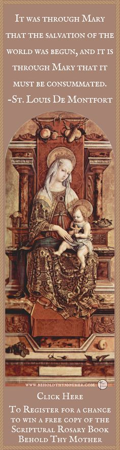 """Carlo Crivelli """"Enthroned Madonna"""" Register to win a free copy of the Scriptural Rosary book """"Behold Thy Mother."""""""