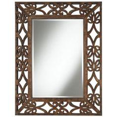 """Espresso Scroll Wood Openwork 39"""" High Wall Mirror"""