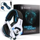 SADES SA903 7.1 Surround Sound Pro USB PC Stereo Gaming Headset with High Sensitivity Mic Wired Noise-Canceling Headband Headphone with High Sensitivity Microphone Volume-Control Blue LED lighting(White)