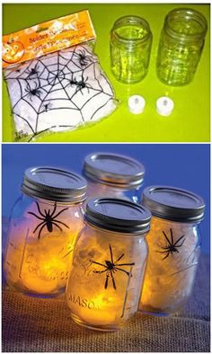DIY Spider Web Ball Jars.