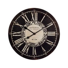 IMAX 16051 Hotel Wall Clock - in. MDF, Black, Analogue Clock with Roman Numerals, Iron Hands, Distressed Vintage Theme. Home Decor Accessories Tabletop Clocks, Wood Clocks, Big Clocks, Large Clock, Unique Clocks, Home Decor Accessories, Decorative Accessories, White Wall Clocks, Clock Wall