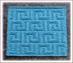 """Wishing Well"" ""Lots of Love"" ""Greek Key Design"" Knit Dishcloth Pattern"