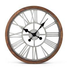 "Wood Metal Wall Clock 22"" H"