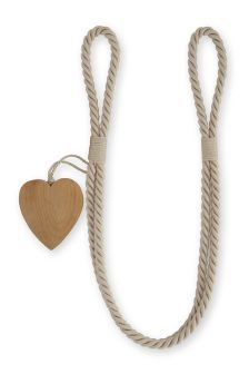 Set Of 2 Wooden Heart Rope Tie Backs
