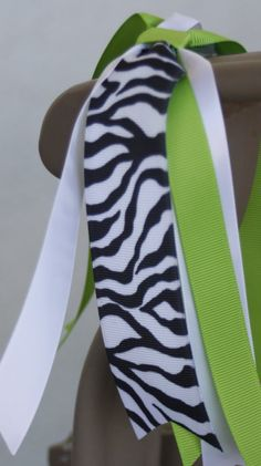 Zebra Print Streamer Zebra and Green Hair Bow Zebra by bowsforme, $6.00