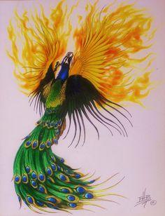 Peacock-Phoenix Tattoo design by ErikBrush on deviantART Dragon Tattoo Feminine, Phoenix Tattoo Feminine, Phoenix Tattoo Design, Phoenix Tattoos, Wing Tattoo Designs, Best Tattoo Designs, Watercolor Peacock Tattoo, Phoenix Wings, Phoenix Images
