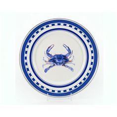"Blue Crab 8.5"" Sandwich Plate Set of Two ($29) ❤ liked on Polyvore featuring home and kitchen & dining"