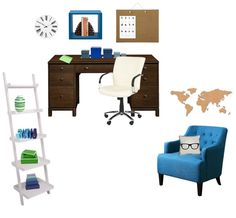 Office / Study space - blue - brown - green