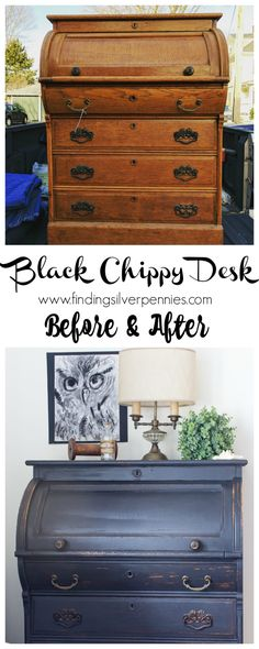 A Black Chippy Roll Top Desk Before and AfterI Finding Silver Pennies Furniture Fix, Furniture Logo, Repurposed Furniture, Furniture Plans, Painted Furniture, Painted Desks, Refinished Furniture, Furniture Dolly, Furniture Online