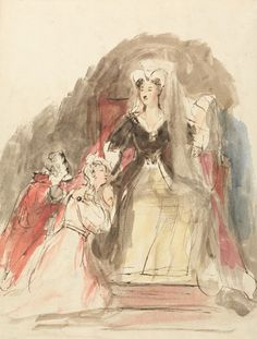 """On this day in 1543 Mary Stuart was crowned Queen of Scotland.  IMAGE: Sir David Wilkie, 1785-1841, British, A Scene from """"The Abbot"""", 1833, Watercolor with pen and brown ink on moderately thick, slightly textured, cream wove paper, Yale Center for British Art, Yale Art Gallery Collection, Everett V. Meeks, Fund."""