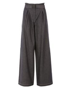 Raw denim high-waist palazzo pants, Double pleat front, belt with branded buckle Made in Italy Raw Denim, Palazzo Pants, Pajama Pants, Trousers, Sweatpants, Cotton, Women, Fashion, Moda