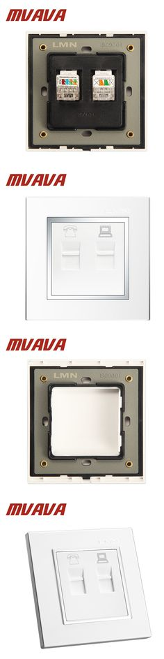 MVAVA Universal Electrical Telephone And Computer Wall Socket Luxury Double Port  RJ45 PC Network +  RJ11 TEL Wall Outlet