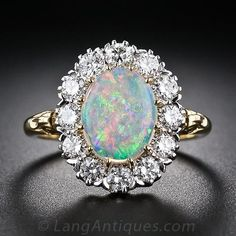 Vintage Style Opal and Diamond Halo Ring - 30-1-4217 - Lang Antiques