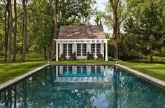 Home Exterior ~ Pool ~ Pool House Country Pool, Moderne Pools, Old Stone Houses, Pool Landscaping, Backyard Pools, Pool Decks, Exterior, Outdoor Rooms, Outdoor Living