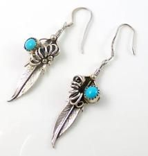 Native American Sterling Silver Turquoise Bead Vine Feather Dangle Earrings