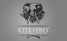 The illustrated logo displays different elements of his hunting and fishing expeditions. The typography conveys a distinguished and masculine tone.