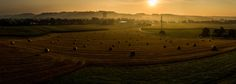Countryside Sunrise - A beautiful sunrise in the countryside in austria with an panoramic view over an field