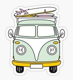 'Hippie Van - hippie life - I'm a lil hippie - Stickers, T-Shirts, and More!' Sticker by Samuel Sawyer Stickers Cool, Red Bubble Stickers, Tumblr Stickers, Phone Stickers, Printable Stickers, Surfboard Stickers, Homemade Stickers, Aesthetic Stickers, Sticker Design