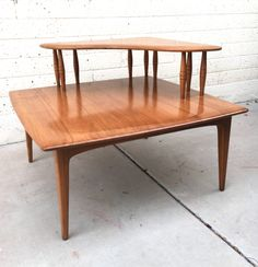 MCM Two Tiered Solid Wood Corner Table
