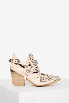 Jeffrey Campbell Calhoun Leather Ankle Boot - Beige - Boots + Booties | Booties…