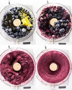 A genius recipe for how to make lemon blueberry sorbet without an ice cream maker. The perfect healthy treat for summer! Frozen Desserts, Frozen Treats, Vegan Desserts, Delicious Desserts, Dessert Recipes, Yummy Food, Vegan Blueberry Recipes, Frozen Yogurt Recipes, Health Desserts