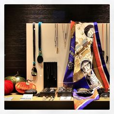 "Window display at ""Zina Fragi Jewel Box"" with the ""Grecian in Constantinople"" silk scarf!"
