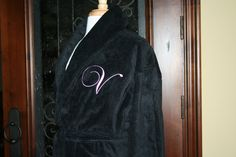 RUSH SHIP PERSONALIZED Black or White Luxury Velour Terry Hotel Robe  His  and Hers Wedding Robes  Ki  1f07a4787