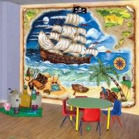 """Pirate Ship Wallpaper Mural. measures 10'6"""" wide x 8'0"""" long. Go to www.kidinthemural.com and see all the beautiful murals"""