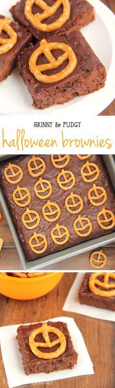 Skinny & Fudgy Halloween Brownies -- so rich & secretly healthy! A super cute & easy treat!