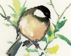 Aves de arte pequeño pájaro arte chickadee pintura original pintura arte de regalo de Navidad uno de un tipo arte acuarela brid painitng