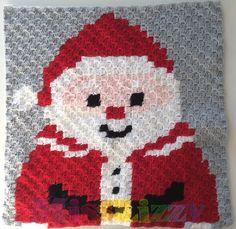 Christmas crochet blanket block #4 santa | Miss Lizzy
