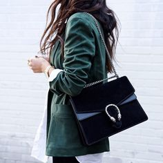 Love the green blazer and Gucci bag x