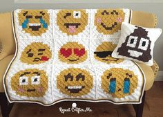 Make this cute c2c crochet emoji afghan (with bonus emoji pillows!) by Repeat Crafter Me with Lion Brand Vanna's Choice!