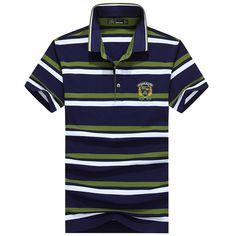 Las rayas de la moda de los hombres imprimieron las camisetas de POLO El  verano ocasional 5238b50e21b40