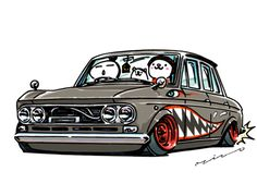 "car illustration ""crazy car art"" jdm japanese old school ""DATSUN 410"" original characters ""mame mame rock"" / © ozizo ""ROCK'N ROLL"" Line theme ""Crazy Car Art"" Line themes ""Crazy Car Art"" Line stickers ""Crazy car Art"" Telegram stickers"