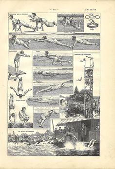 1908 French sport dictionary swimming illustration