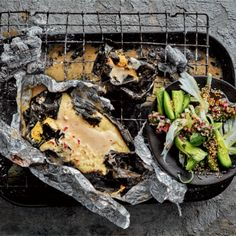 Put this on your weekend menu: Spicy coconut braaied fish parcels Braai Recipes, Seafood Recipes, Poached Fish Recipes, Coconut Sauce, Fennel Salad, Pickled Onions, Food Tasting, Fresh Coriander