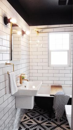 Black Ceiling + Tiling + Clawfoot Tub
