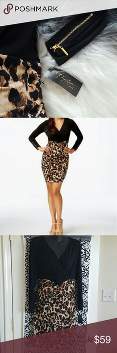 THALIA LEOPARD PRINTED DRESS This beautiful leopard printed dress. Fun and fierce piece. Has beautiful gold detail zippers in wrist area. Also is easy to put on and take off with back zipper that unzips mid back. Brand new! Thalia Dresses