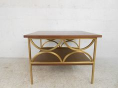 Mid Century Modern Walnut and Brass Side Table 4757 M | eBay