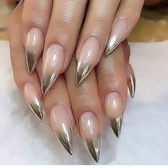 Chrome tipped nails #nails  Can you imagine these raking down your back? She'd know she could get or have anything she wanted from you.