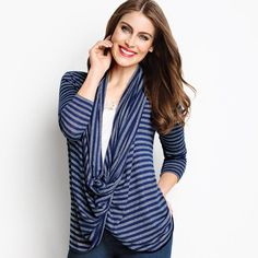 Wear this cute, blue striped sweater as a cowl neck, a cardigan or a hoodie. Knit sweater that wraps around or can be worn open down the front. https://dawnexceptionalbeauties.avonrepresentative.com/
