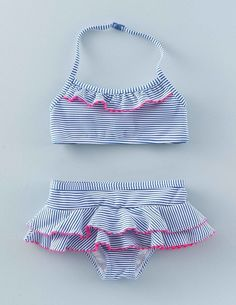 Using our favorite prints and neon bobble trims these ruffle bikinis will make you the belle of the beach. This fabric provides UPF 50+ protection.