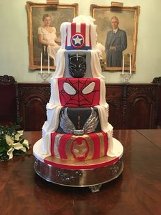 Double sided cake with roses and pearls on one side and Super Hero's on the other side!!!! Superhero Wedding Cake, Create A Cake, Rose Cake, Party Cakes, Wedding Cakes, Bride, Black Panther, Thor, Captain America