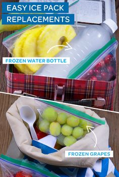 Why waste precious lunchbox space on a giant ice pack? These ideas are smart, affordable, and free up more space for your food! Try freezing grapes in a Ziploc® bag, or toss in a frozen water bottles or smoothie. They'll thaw perfectly by lunch!