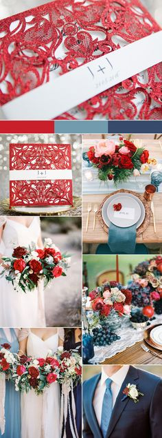 gorgeous fresh red and blue summer and autumn wedding color inspiration