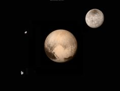 The Pluto system with Charon (upper right), Nix and Hydra. Credit: NASA, Damian Peach